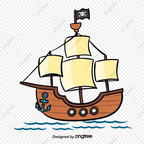 Vetor Desenho Barco Pirata, Um Grande Navio Pirata, Q Versão