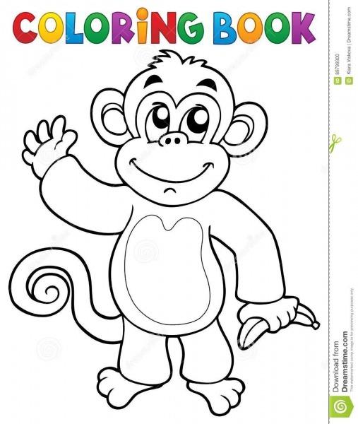 Tema 3 Do Macaco Do Livro Para Colorir Ilustração Do Vetor