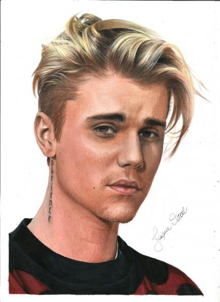 Desenho Realista Do Cantor Justin Bieber  Youtube  Jaque Vital In