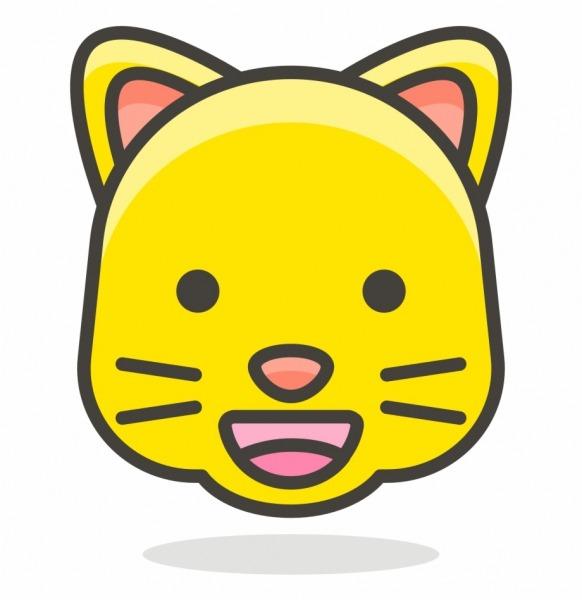 096 Grinning Cat Face Gato Desenho Infantil