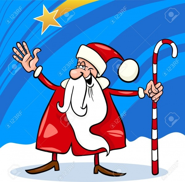 Cartoon Illustration Of Funny Santa Claus Or Papa Noel With Cane