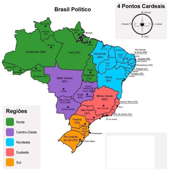 Resultado De Imagem Para Mapa Politico De Brasil Para Imprimir