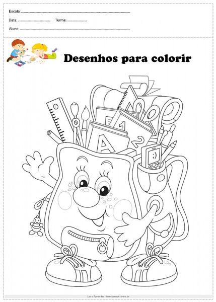 Bolsa De Escola Para Colorir
