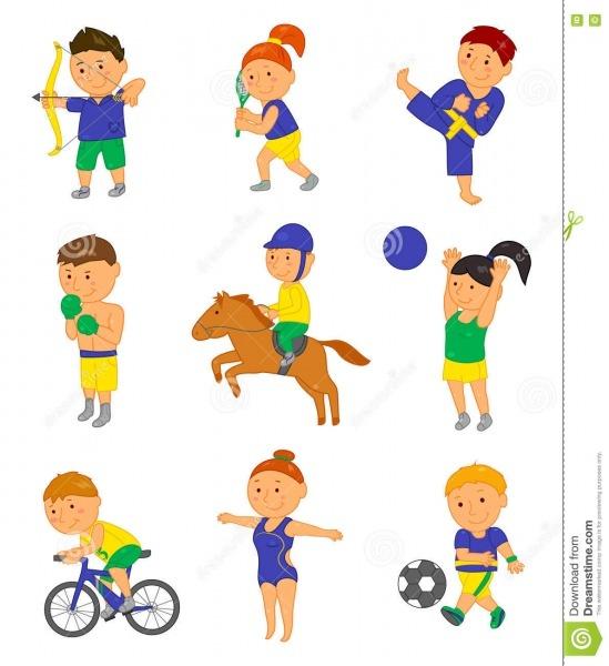 Crianças Do Esporte Dos Desenhos Animados Ilustração Do Vetor Para