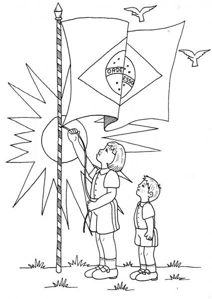 Desenho De Crianças Hasteando A Bandeira Do Brasil Para Colorir