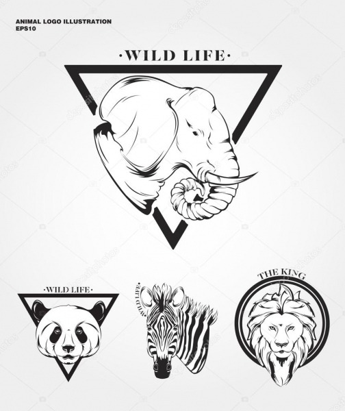 Logotipos De Animais Selvagens De Hipster — Vetores De Stock