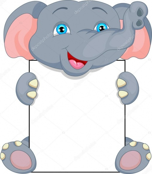 Desenho De Elefante Bebê Fofo E Assinar Em Branco — Vetor De Stock