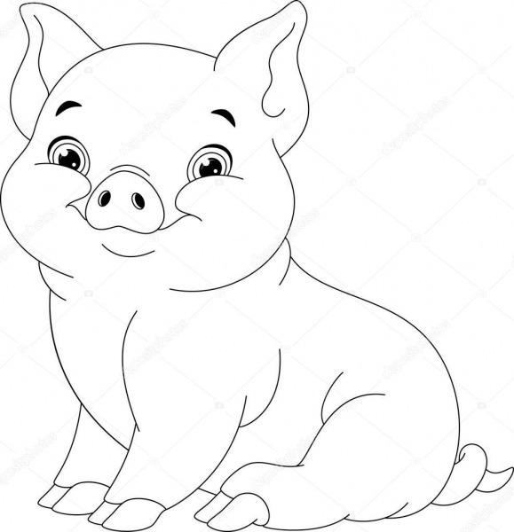 Página Para Colorir De Porco — Vetores De Stock © Malyaka  129524520