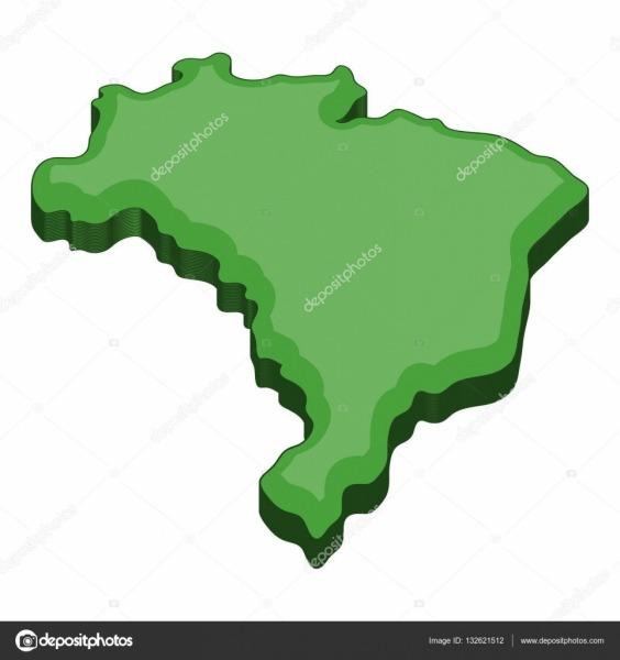 Green Map Of Brazil Icon, Cartoon Style — Stock Vector