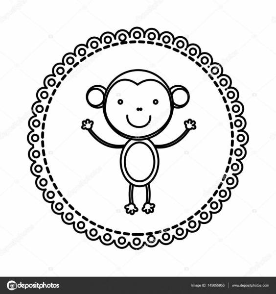 Emblema De Figura Com Macaco Dentro ícone — Vetores De Stock