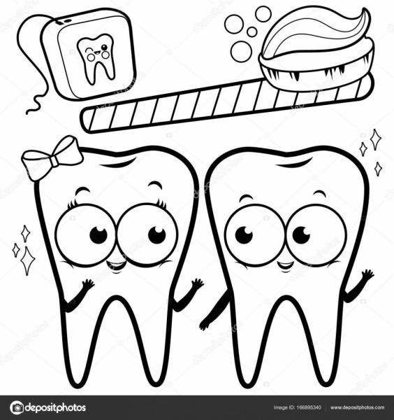Desenhos Animados Os Dentes Com Escova E Fio Dental  Página Para