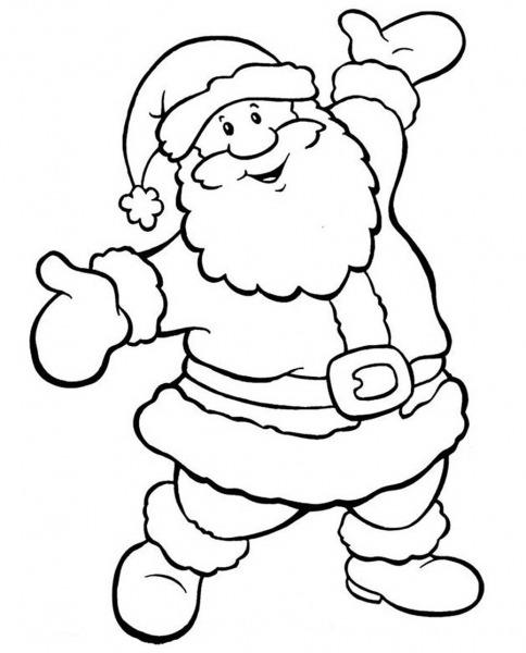 Desenho Papai Noel Feliz Para Colorir