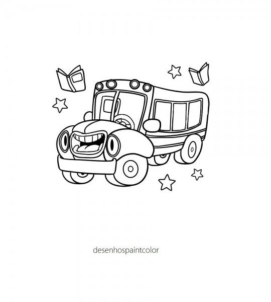 Colorindo Com A Dry  Desenho De Ônibus Escolar E Estrelas Para