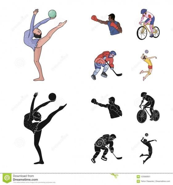 E Ícones Ajustados Da Coleção Do Esporte Olímpico Nos Desenhos