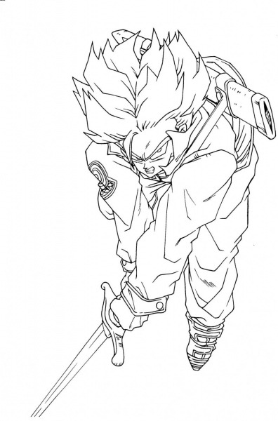 Dragon Ball Z Saiyan Trunks Coloring Pages