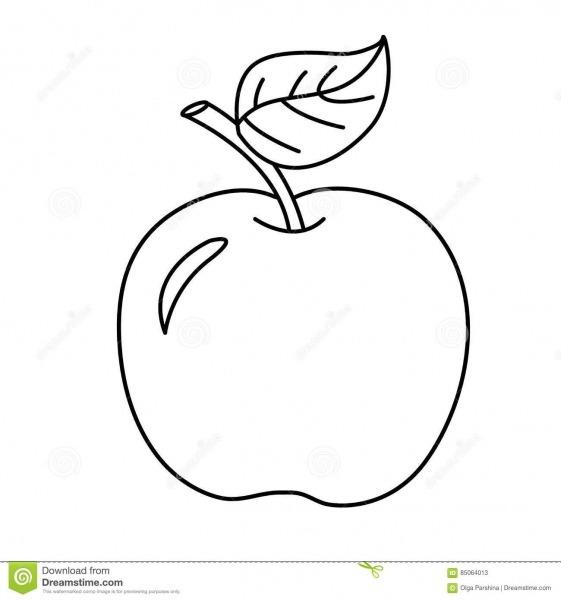 Esboço Da Página Da Coloração Da Maçã Dos Desenhos Animados Frutas