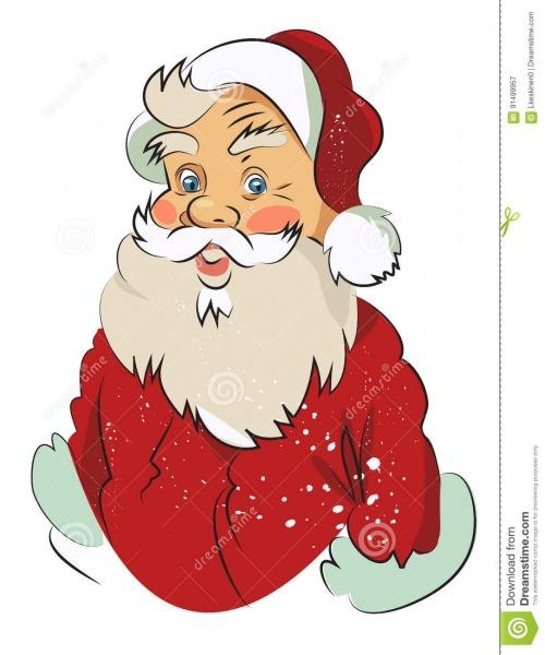Imagem Dos Desenhos Animados De Papai Noel Surpreendido Ilustração