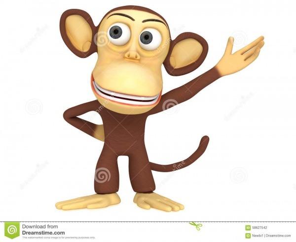 Macaco 3d Bonito Que Apresenta Algo Ilustração Stock