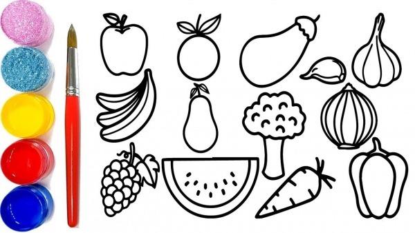 Como Desenhar E Coloração Frutas, Aprenda Cores Frutas Para