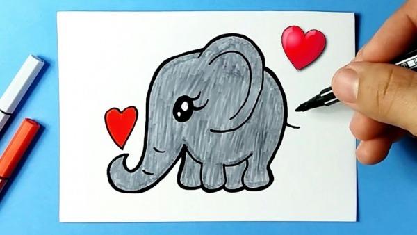 Como Desenhar Elefante Fofo E Bonito Kawaii ❤ Desenhos Bonitos