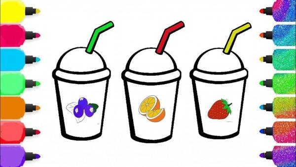 Video Para Criançinhas Copos De Sucos Desenho Para Colorir Frutas