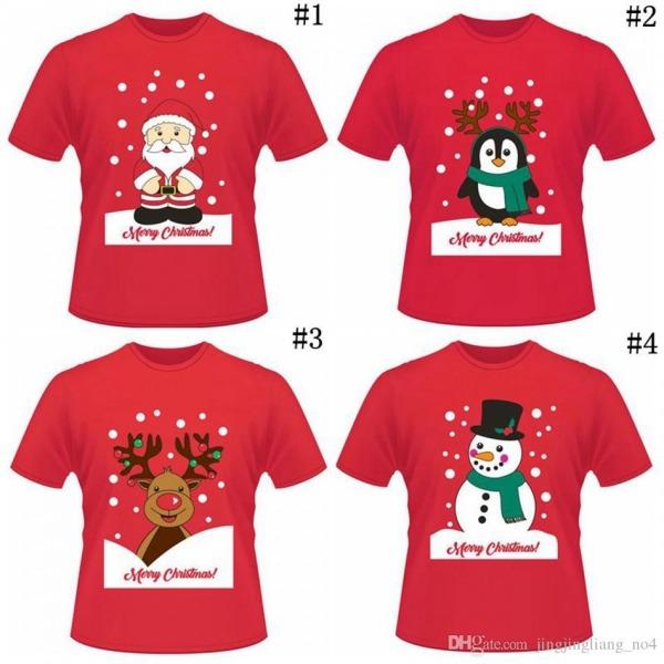 Compre Natal Engraçado Curto Camisetas Papai Noel Elk Pinguim