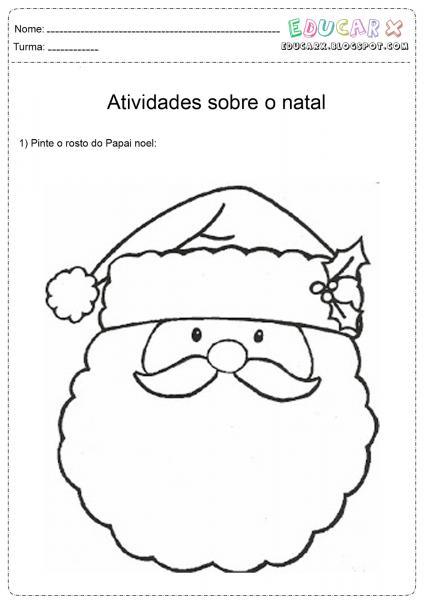 Maternal Feliz  Atividades  Rosto De Papai Noel Para Colorir E