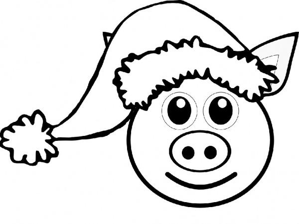 Desenho De Porco No Natal Para Colorir
