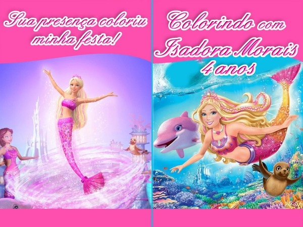 Revista Colorir Barbie Sereia 14x10 No Elo7