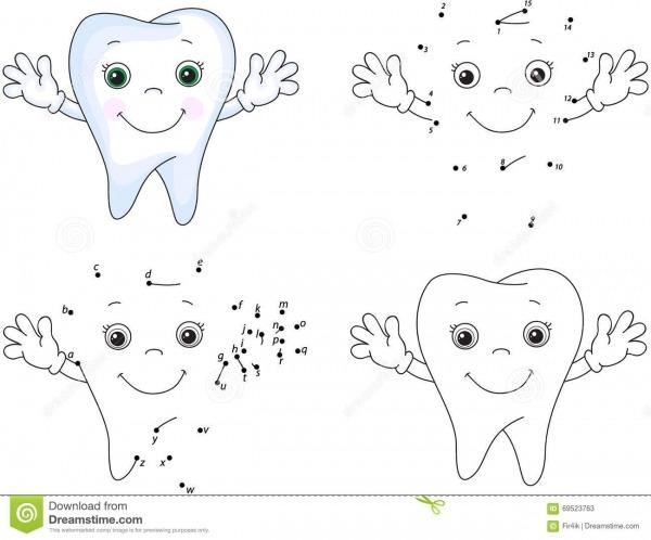 Sorrisos Do Dente Dos Desenhos Animados Livro Para Colorir E Ponto