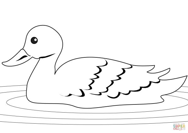 Desenho De Pato Na Lagoa Para Colorir