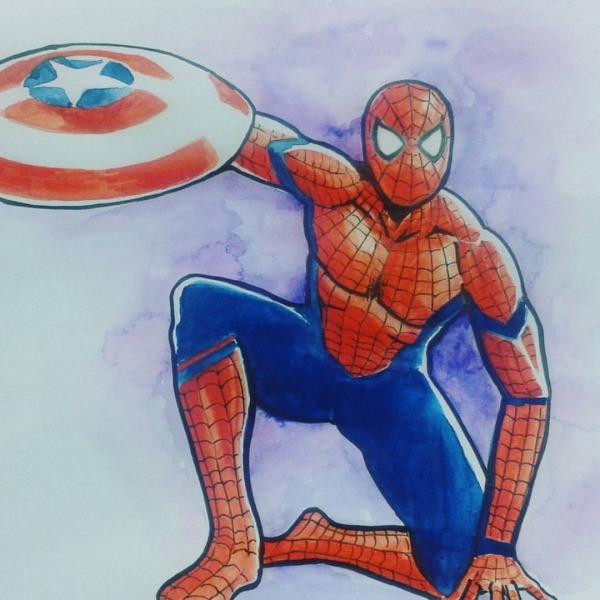 Desenhos — Homem Aranha Rascunho Em Aquarela  Fraquinho, Mas