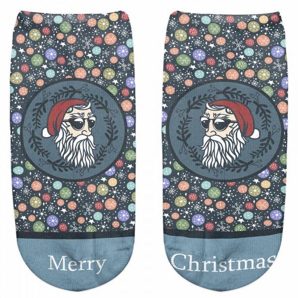 Zohra Moda Mulheres Meias Meias Impressão Engraçado Papai Noel