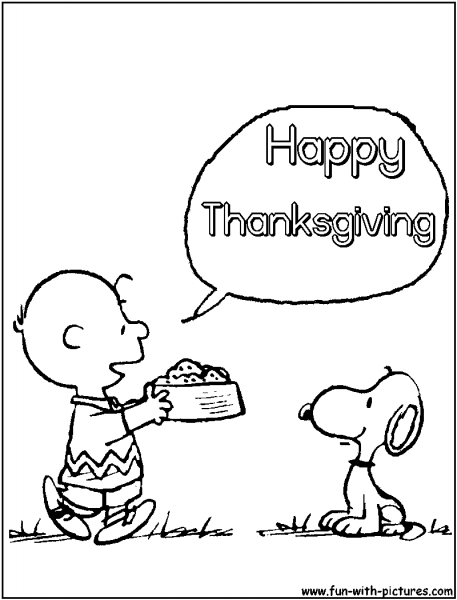 Happy Thanksgiving Snoopy Color Page