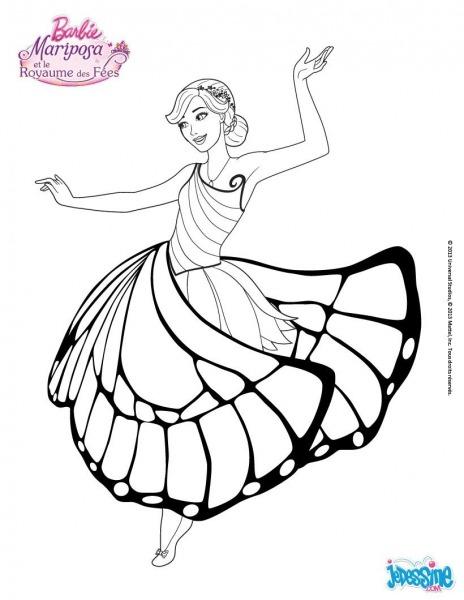 Coloriage Barbie   Mariposa Dans La Salle De Bal