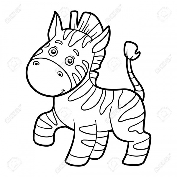 Coloring Book For Children (zebra) Royalty Free Cliparts, Vectors