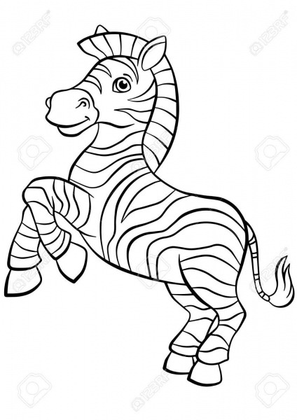 Coloring Pages  Animals  Little Cute Zebra Stands And Smiles