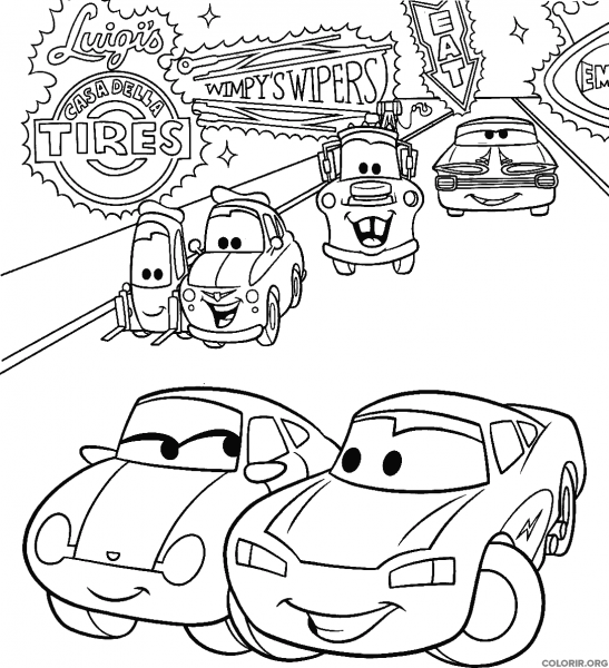 Personagens De Carros Na Cidade Para Colorir Colorir Org