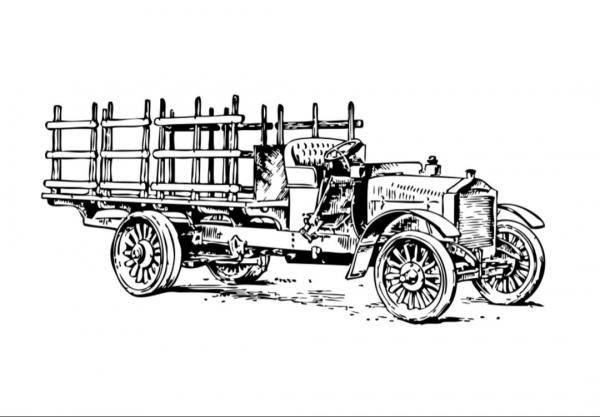 Caminhão De Carga Antigo Para Colorir E Imprimir Grátis