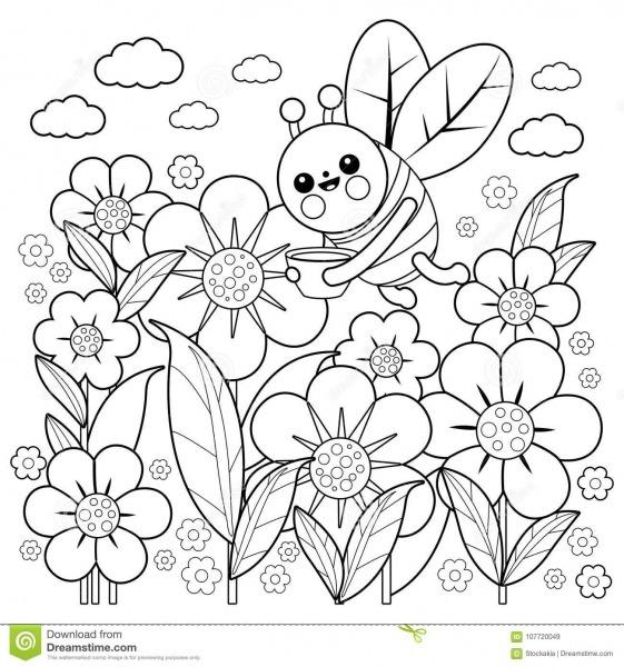 Abelha E Flores Página Do Livro Para Colorir Ilustração Do Vetor