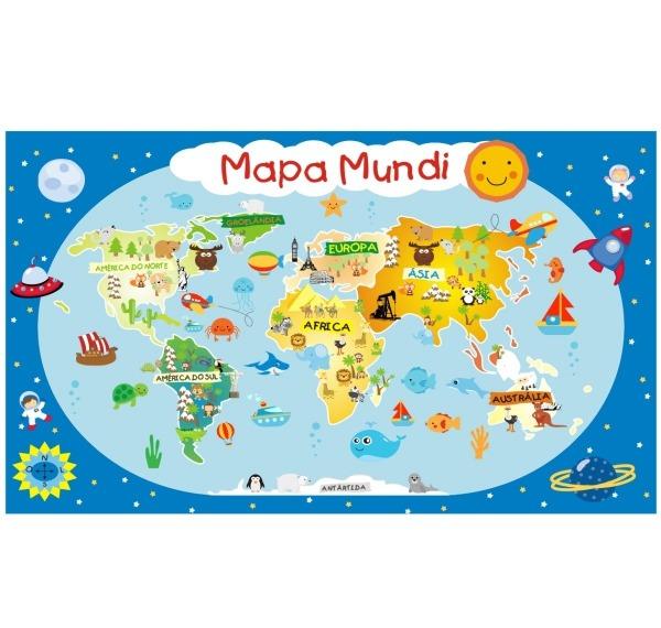 Adesivo Painel Mapa Mundi Infantil 81