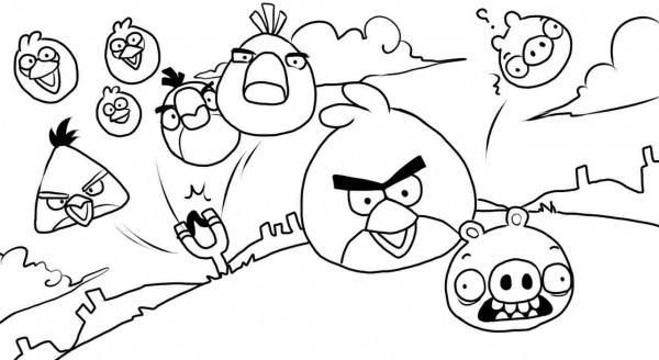 Desenho De Angry Birds Voando Para Colorir