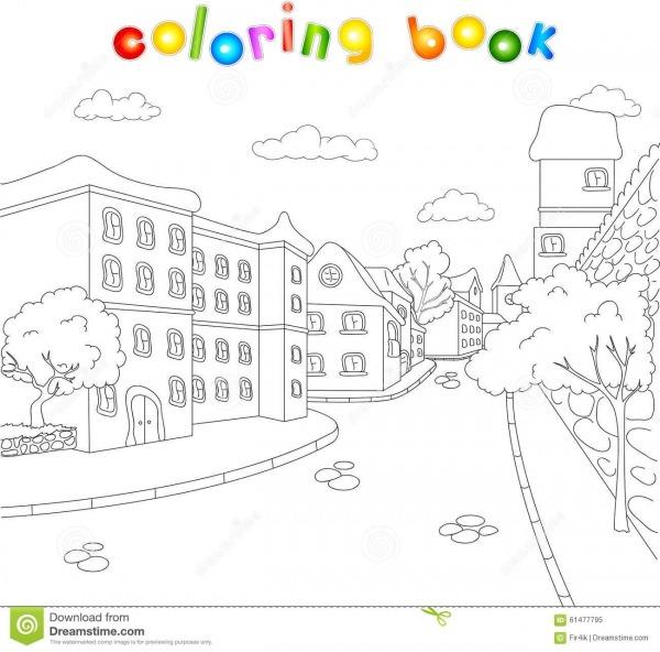 As Ruas Da Cidade Velha Livro Para Colorir Para Crianças Sobre O
