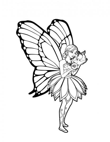 Desenhos De Barbie Butterfly Para Pintar, Colorir, Imprimir