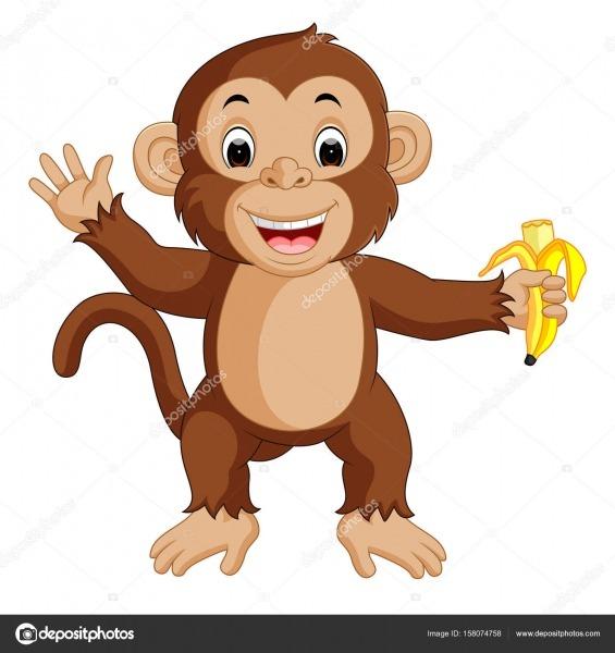 Desenho De Macaco Bonito Comendo Banana — Vetores De Stock