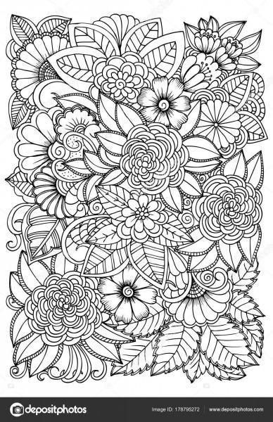 Preto E Branco Padrão De Flor Para Colorir  Doodle Drawi Floral