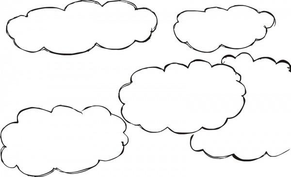 Único Desenho De Nuvem Grande Para Colorir