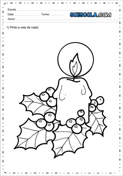 Desenhos De Velas De Natal Para Colorir E Imprimir