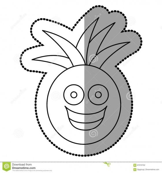 Figura ícone Feliz Do Abacaxi Do Fruto Do Kawaii Ilustração Stock