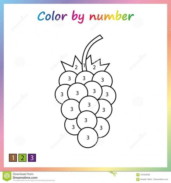 Folha Para A Educação Página Da Pintura, Cor Por Números Jogo Para